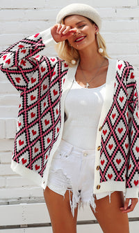 Diamonds In The Sky Heart Geometric Pattern Long Sleeve Button V Neck Cardigan Sweater - Sold Out