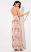 Love Is Blind Gold Sequin Floral Pattern Sleeveless Spaghetti Strap V Neck Double Slit Maxi Dress