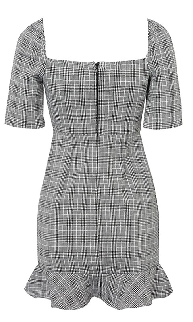I'm Popular Grey White Plaid Pattern Elbow Sleeve Square Neck Ruffle Trim Bodycon Casual Mini Dress