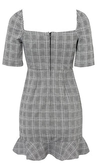I'm Popular Grey White Plaid Pattern Elbow Sleeve Square Neck Ruffle Trim Bodycon Casual Mini Dress - Sold Out