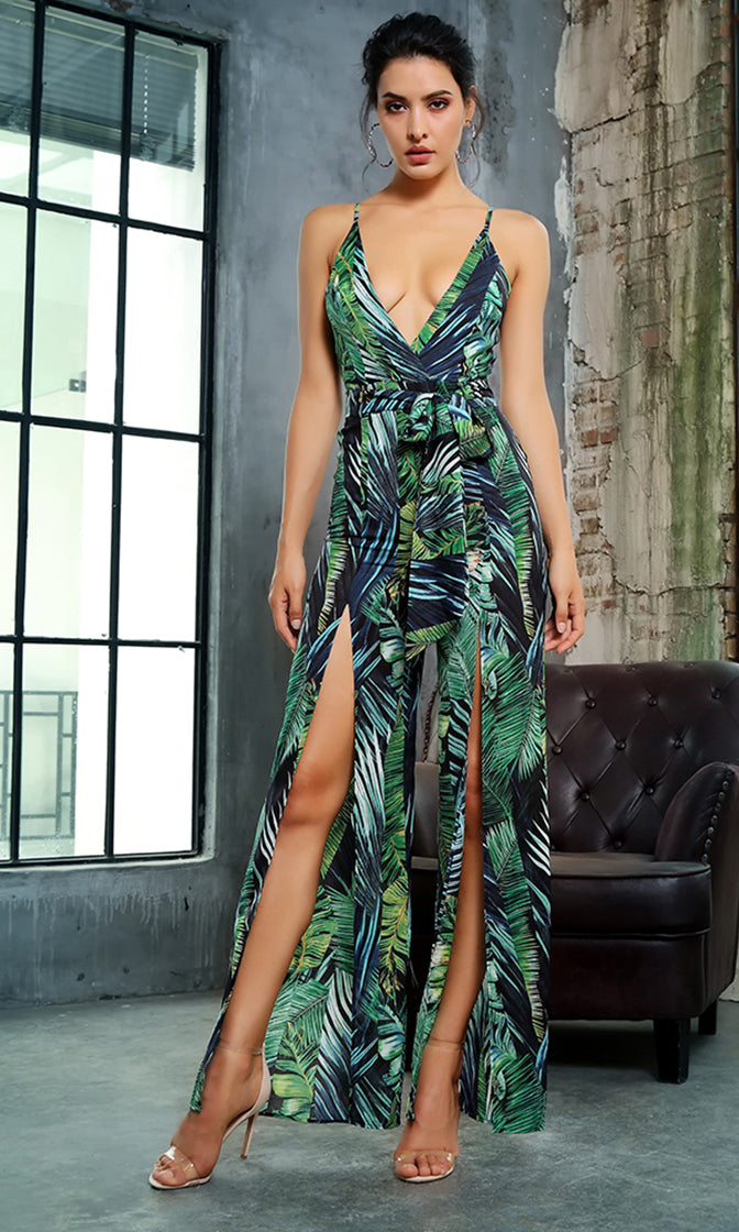 Tropic Kisses Green Leaf Pattern Sleeveless Spaghetti Strap V Neck Split Wide Leg Loose Jumpsuit