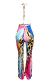 South Beach Bash Multicolor Animal Print Abstract Pattern Sleeveless Backless Cut Out Wrap Halter Flare Leg Jumpsuit - 2 Colors Available - Sold Out
