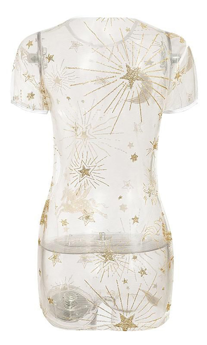 Celestial Dreams Gold Sheer Mesh Glitter Star Moon Pattern Short Sleeve Crew Neck Swimsuit Coverup Beach Casual Mini Dress - Sold Out