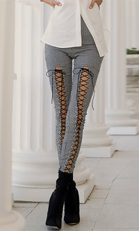 Keep Guessing Grey White Plaid Pattern High Waist Skinny Cut Out Lace Up Leggings Pants - Sold Out