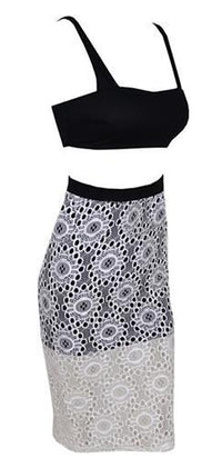 Last Kiss Black White Floral Lace Sleevless Cut Out Crop Tank Midi Two Piece Dress - Sold Out