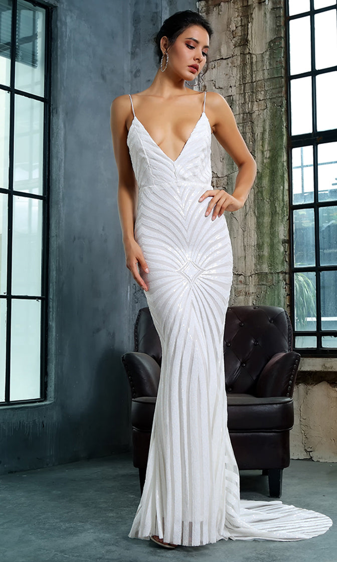 d2cccc7fca789 Feel The Spark White Sequin Geometric Pattern Sleeveless Spaghetti Strap  Plunge V Neck Backless Mermaid Maxi
