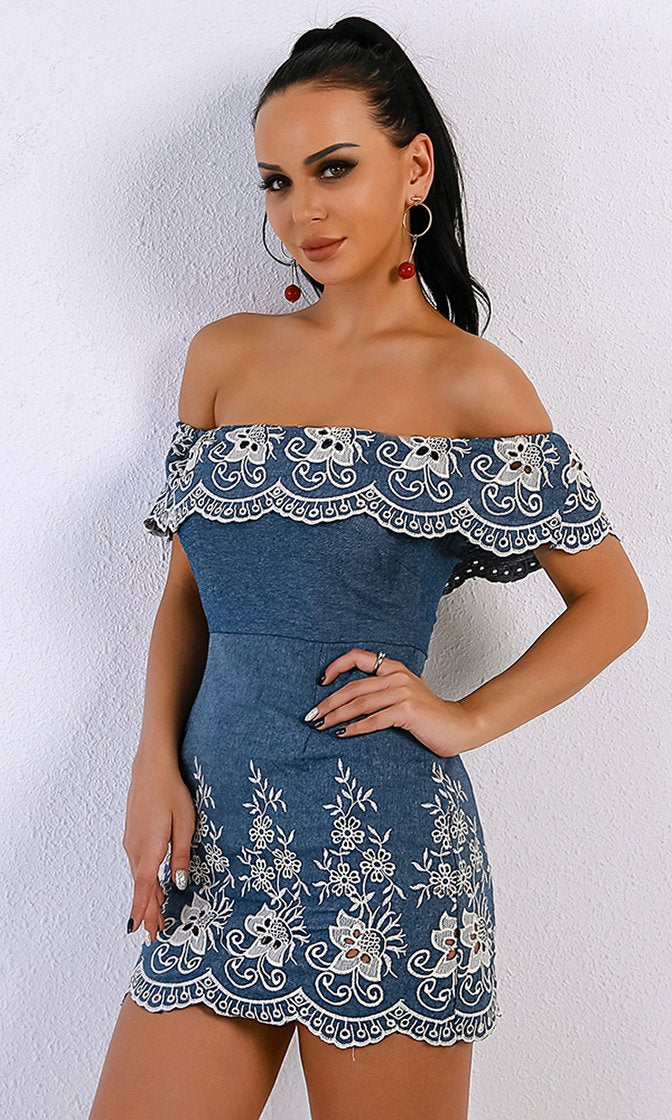 Blue Jean Baby Blue Denim Short Sleeve Off The Shoulder Scallop Embroidery Bodycon Mini Dress
