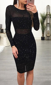Midnight Kisses Black Sheer Mesh Sparkle Long Sleeve Scoop Neck Bodycon Midi Dress - Sold Out