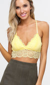 Festival Flirt Sleeveless Spaghetti Strap V Neck Crop Floral Lace Pattern Bralette Lingerie Top - 12 Colors Available - Sold Out