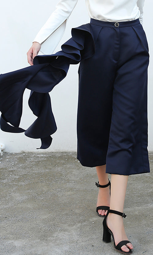 Wide Eyed Navy Blue High Waist Ruffle Wide Leg Crop Palazzo Pant