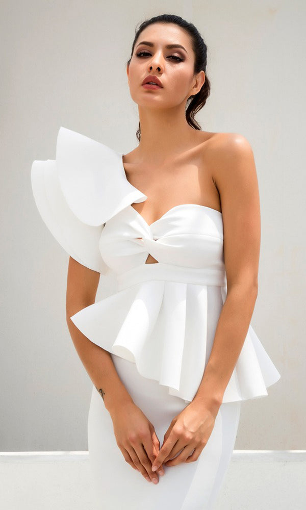 Be Faithful White One Shoulder Ruffle Peplum Twist Front Two Piece Bodycon Midi Dress