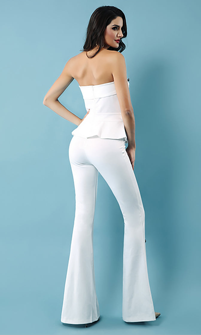 Risking It All Strapless Peplum Top Flare Leg Button Stretch Jumpsuit Set - 2 Colors Available