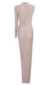 Sexy Khaki One Shoulder Long Sleeve Open Fork Long Rayon Bandage Dress Night Club Party Dress - Sold Out
