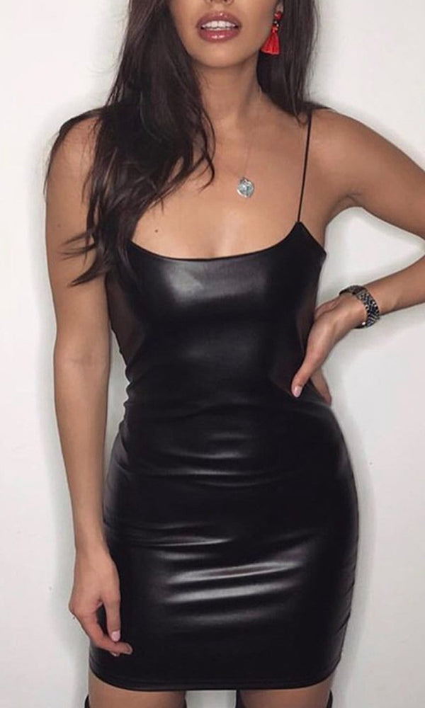 You'll Never Get Me Black PU Faux Leather Sleeveless Spaghetti Strap Scoop Neck Bodycon Mini  Dress