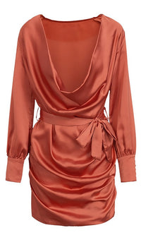 Draped In Love Rusty Red Long Sleeve Drape Cowl Neck Tie Belt Mini Dress - Sold Out