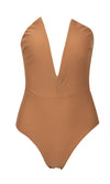 Beach Patrol Nude Strapless Plunge V Neck Bodysuit Top One Piece Swimsuit - Sold Out