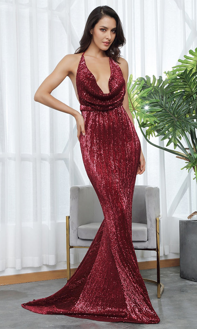 Know My Name Red Wine Sequin Sleeveless Spaghetti Strap Backless Halter Draped Cowl Neck Mermaid Maxi Dress