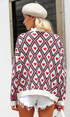 Diamonds In The Sky Heart Geometric Pattern Long Sleeve Button V Neck Cardigan Sweater