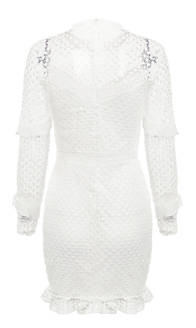 Making It Big White Sheer Lace Long Sleeve Ruffle Mock Neck Bodycon Mini Dress - 3 Colors Available