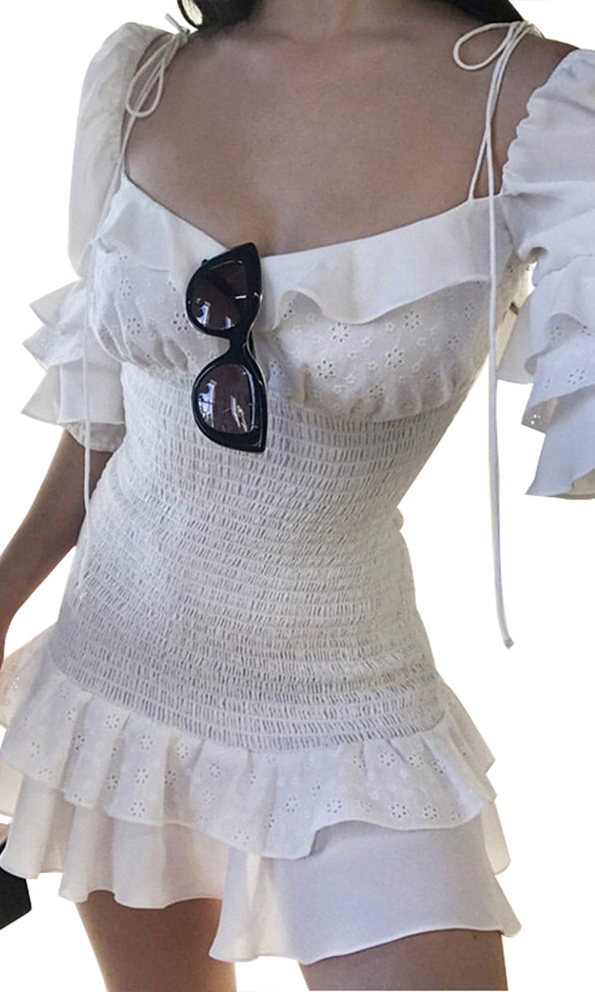 Inner Voice White Short Puff Sleeve Ruffle Eyelet Lace V Neck Smocked Bodycon Casual Mini Dress