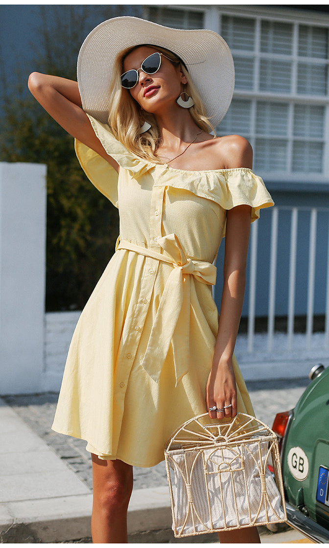 Seaside Beauty Short Sleeve Ruffle Off The Shoulder Button Front Tie Belt Casual Mini Dress - 2 Colors Available