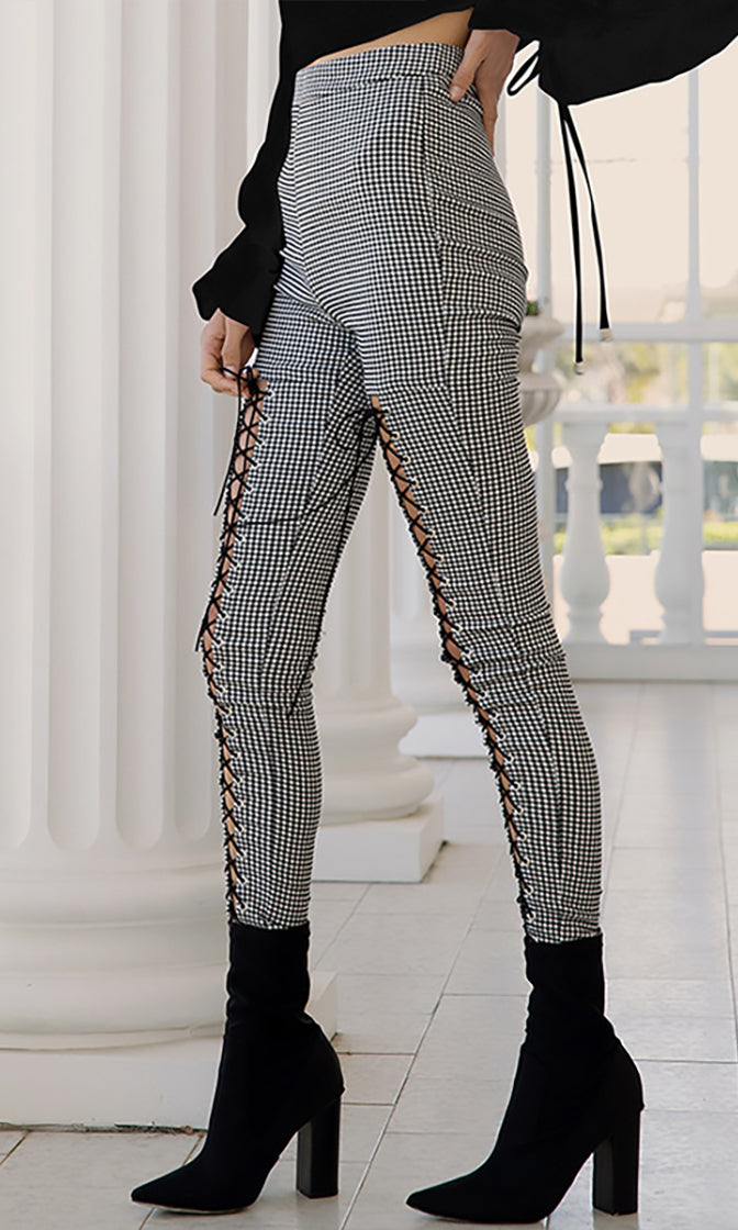 Keep Guessing Grey White Plaid Pattern High Waist Skinny Cut Out Lace Up Leggings Pants