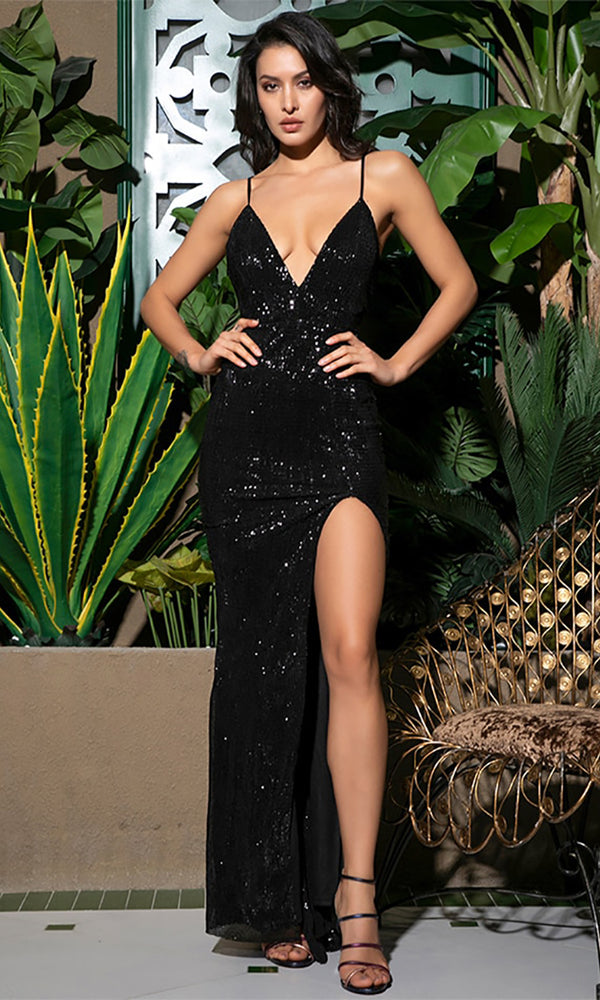 43a660b6706da Shall We Dance Black Sequin Sleeveless Spaghetti Strap Plunge V Neck Low  Back High Slit Maxi