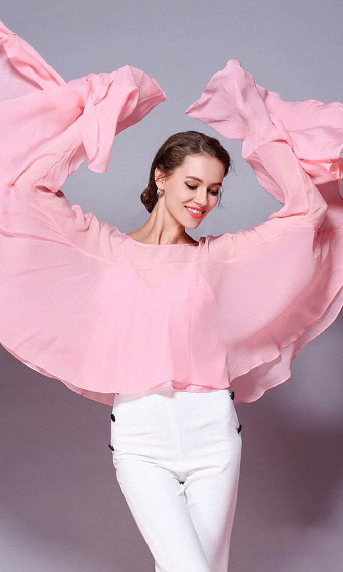 Hollywood Dreams Long Batwing Sleeves Ruffle Chiffon Boat Neck Blouse Top - 3 Colors Available - Sold Out