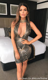 Golden Rays Black Gold Sequin Geometric Pattern Sleeveless Mock Neck Deep V Neck Bodycon Mini Dress