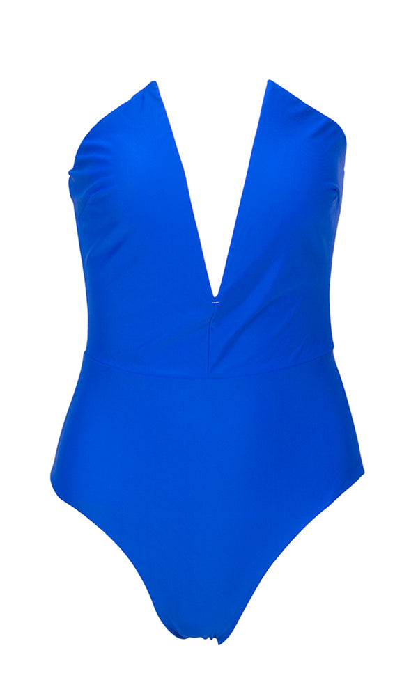 Beach Patrol Blue Strapless Plunge V Neck Bodysuit Top One Piece Swimsuit