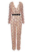 Insta Star Rose Gold Sequin Tassel Fringe Diamond Geometric Pattern Long Sleeve V Neck Jumpsuit