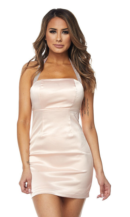 Daring Darling Satin Sleeveless Sparkle Halter Bodycon Mini Dress - 4 Colors Available