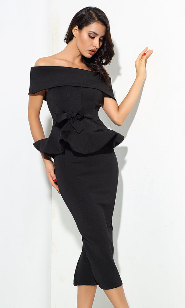 Status Quo Black Off The Shoulder Bow Belt Ruffle Peplum Top Midi Skirt Two Piece Dress