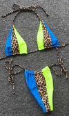 Sail The Seas Fuchsia Pink Lime Green Colorblock Leopard Animal Pattern Triangle Bra Top Tie Side Brazilian Bikini Two Piece Swimsuit - 3 Colors Available