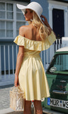 Seaside Beauty Short Sleeve Ruffle Off The Shoulder Button Front Tie Belt Casual Mini Dress - Sold Out