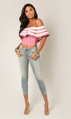 Ruffled Romantic Pink Stripe Pattern Short Sleeve Ruffle Off The Shoulder Bandage Crop Top - Sold Out