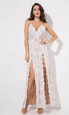 Looking For You White Sleeveless Halter Plunge V Neck Zip Belted Flare Leg Jumpsuit
