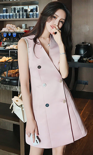 Look For Me Pink Sleeveless Double Breasted Button Casual Blazer Mini Dress