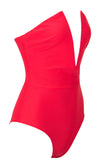 Beach Patrol Red Strapless Plunge V Neck Bodysuit Top One Piece Swimsuit - Sold Out