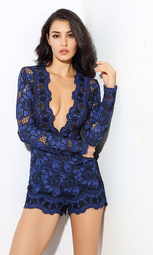 Playing For Keeps Blue Lace Long Sleeve Plunge V Neck Romper Playsuit