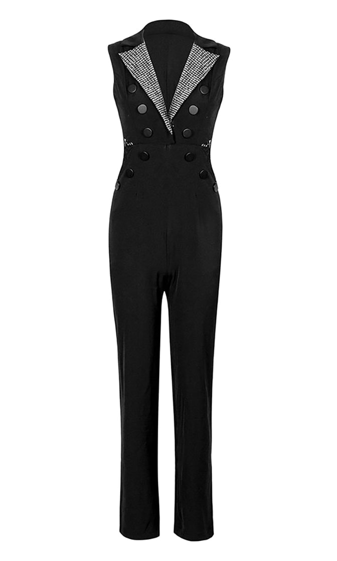 Key To The City Black Sleeveless Sheer Lace Back V Neck Metallic Lapel Button Jumpsuit