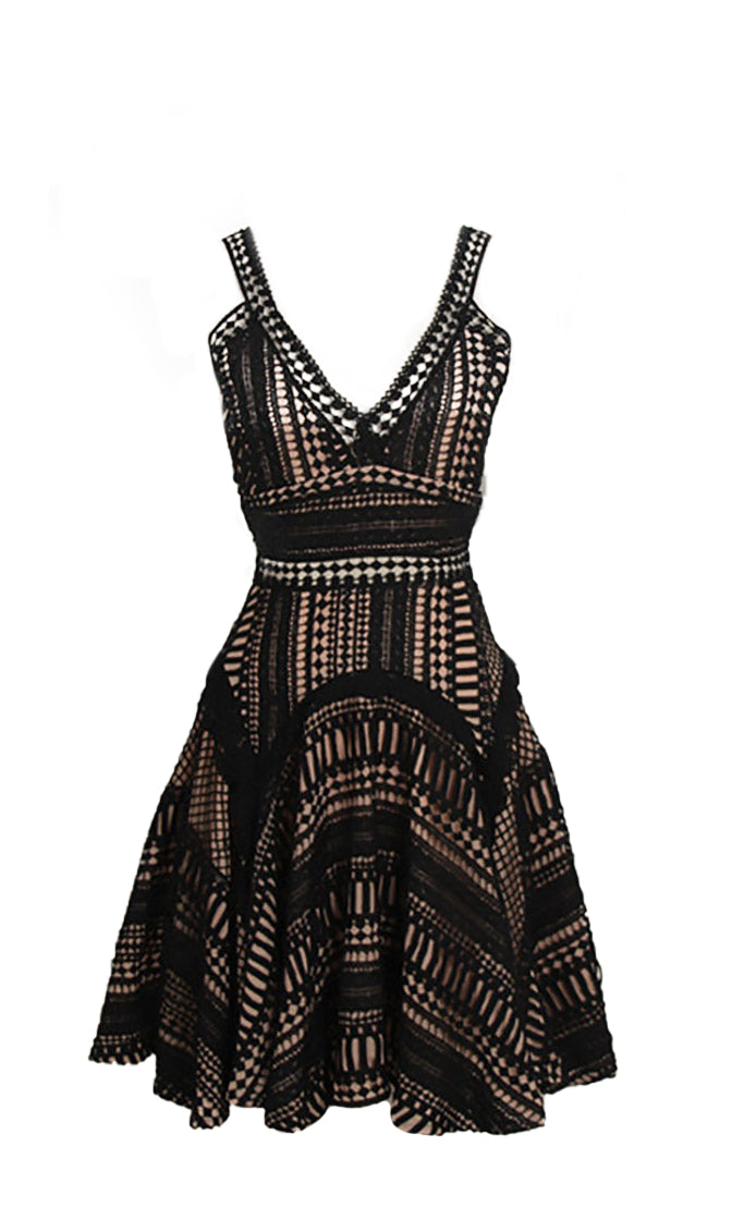 Just Like That Black Lace Sleeveless Plunge V Neck Ruffle Flared Casual Mini Dress - Sold Out