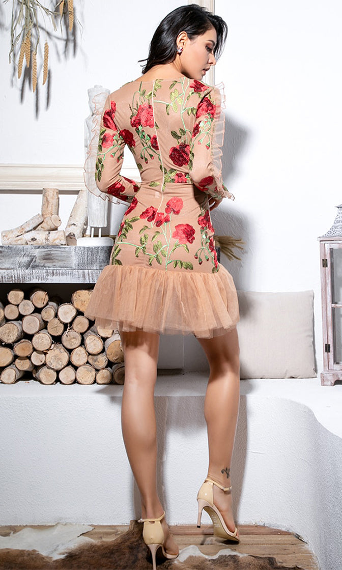 Instant Success Floral Pattern Mesh Embroidery Long Sleeve Ruffle V Neck Bodycon Mini Dress