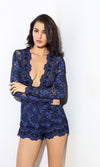 Playing For Keeps Blue Lace Long Sleeve Plunge V Neck Romper Playsuit - Sold Out
