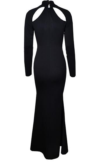 Pure Hollywood Black Long Sleeve Mock Neck Cut Out Keyhole Maxi Dress - Inspired by Khloe Kardashian  -  Sold Out