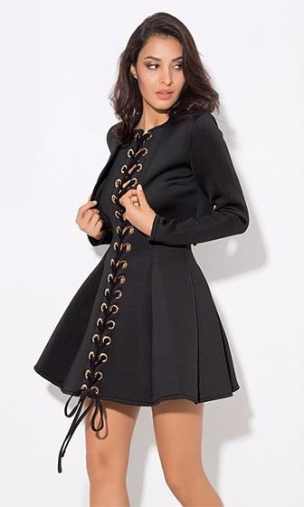 Oh Snap Black Neoprene Scuba Sleeveless Spaghetti Strap Cut Out Grommet Lace Up Flare Halter Mini Skater Dress with Bolero Jacket Two Piece Set