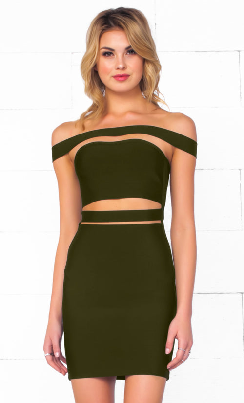 Indie XO It Girl Olive Green Strapless Cut Out Bandage Bodycon Mini Dress - Inspired by Kylie Jenner