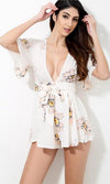 My Wild Heart White Pink Yellow Black Floral Short Sleeve Plunge V Neck Tie Waist Short Romper Playsuit