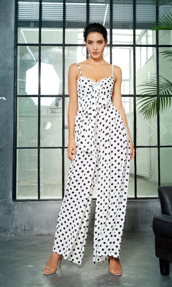 Playing Around White Polka Dot Pattern Sleeveless Spaghetti Strap V Neck Bow Loose Wide Leg Jumpsuit