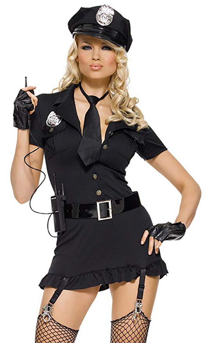 Bad Bad Boy Black Short Sleeve Plunge V Neck Sexy Cop Mini Dress Costume